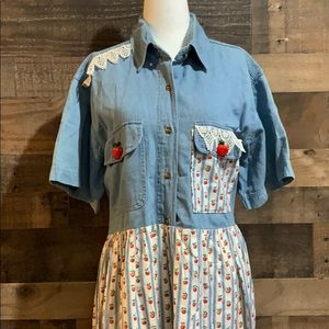 Vintage 90s Denim & Apple Print Short Sleeve Dress
